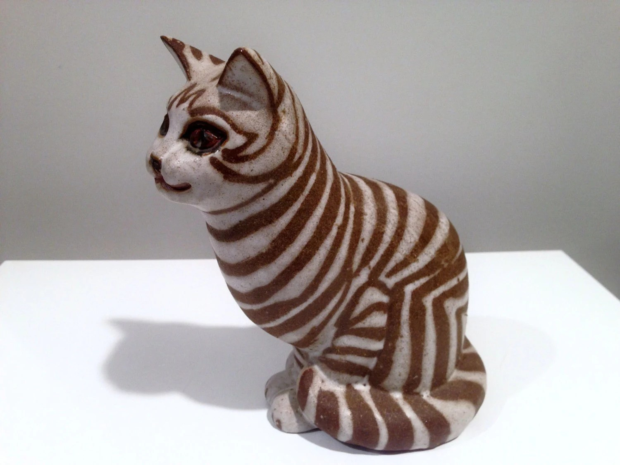 Andersen Pottery Studio Of Maine Stoneware Striped Cat