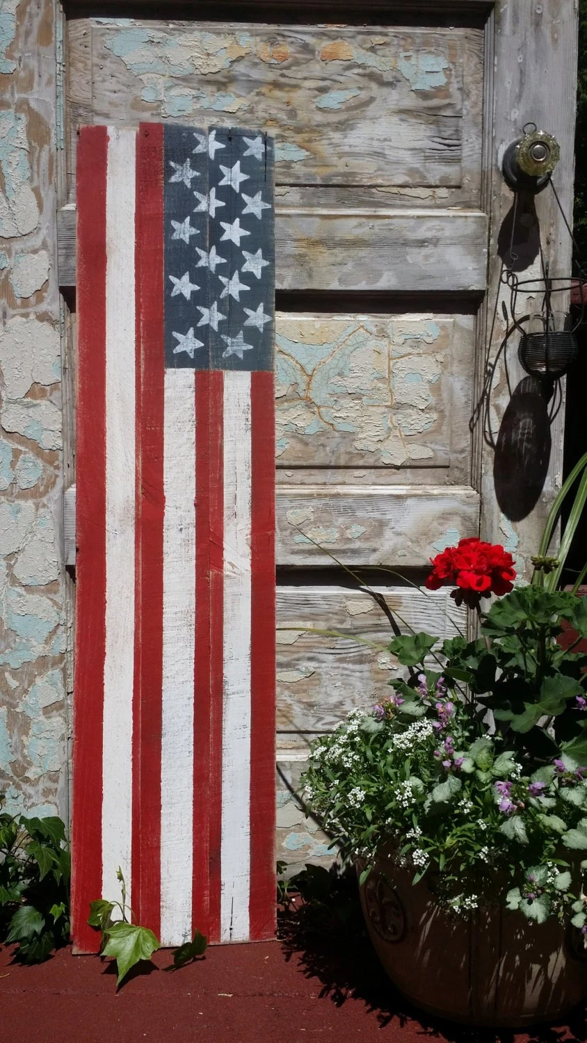 Wood American Flag Amp Welcome Sign Reversible Sign By