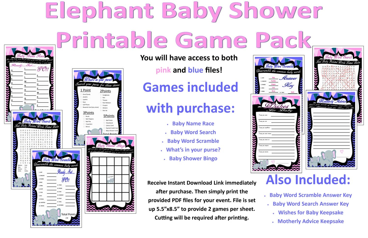 Elephant Baby Shower Printable Game Pack With Answer Key