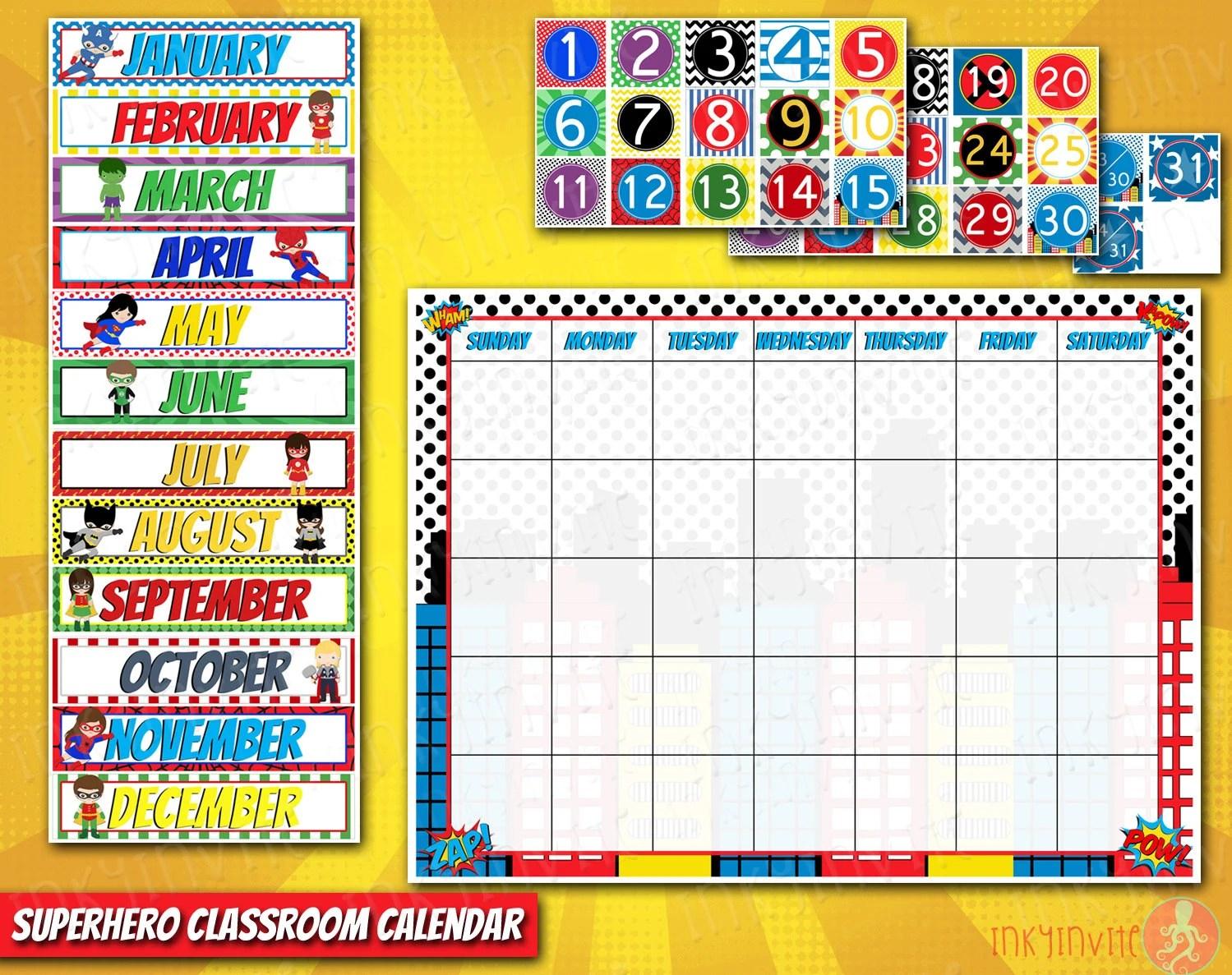 Superhero Classroom Calendar Pre School Classroom