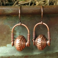 Antiqued copper earrings - wire wrapped stirrup dangle