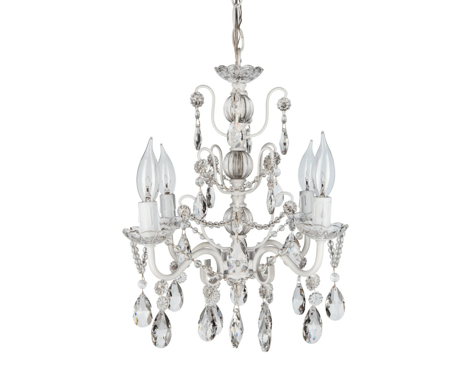 White Mini Crystal Chandelier 4 Lights Swag By
