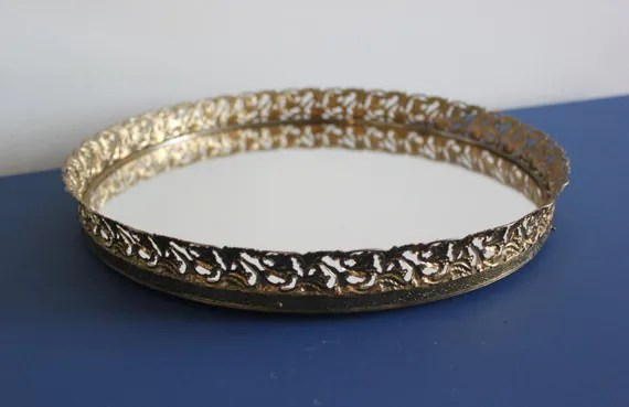 Vintage Gold Round Mirrored Vanity Tray Mirror By BlueWolfHome