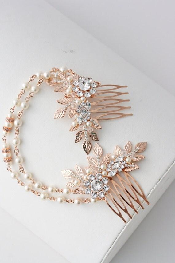Rose Gold Hair Chain Wedding Headpiece Pearl By LuluSplendor