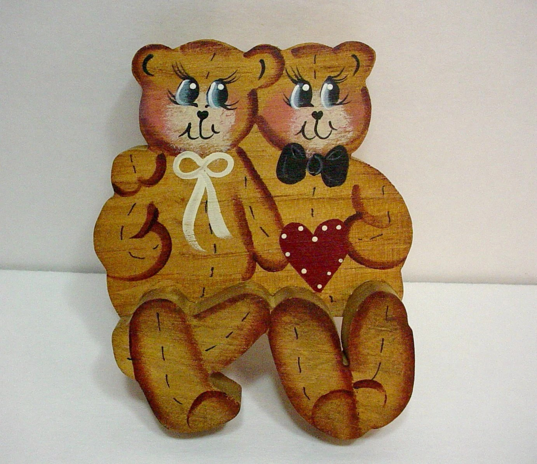 Wooden Country Bear Couple Shelf Sitter Teddy Bear Decor
