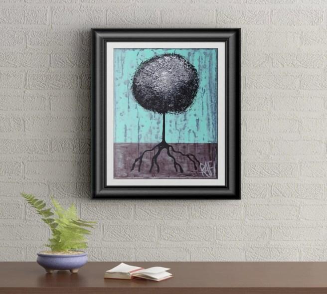 Black Lollipop Tree Signed Art Print of Signature Original By Rafi Perez