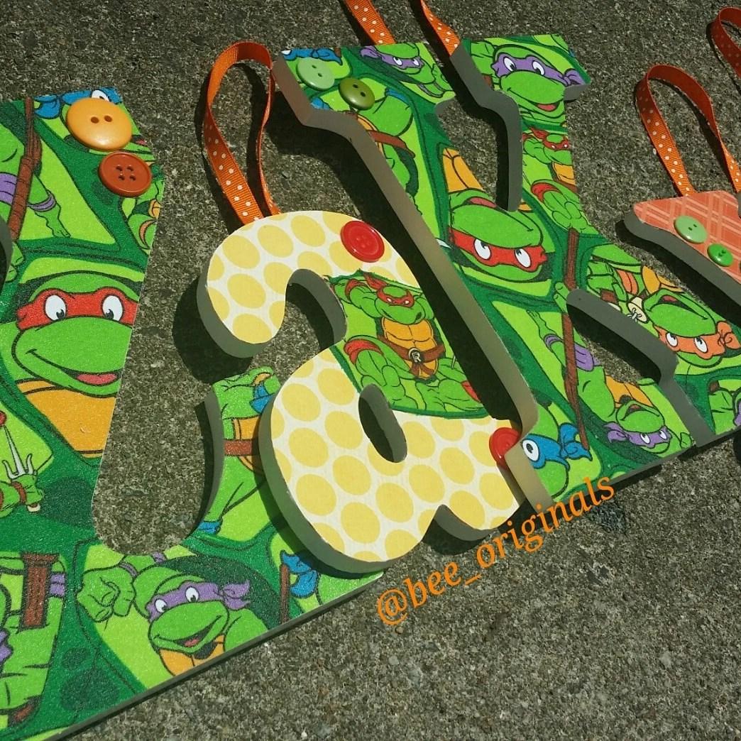 Ninja Turtles Inspired Wooden Letters By Originalsbybee On Etsy