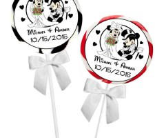 Disney Mickey and Minnie Wedding Favors Stickers