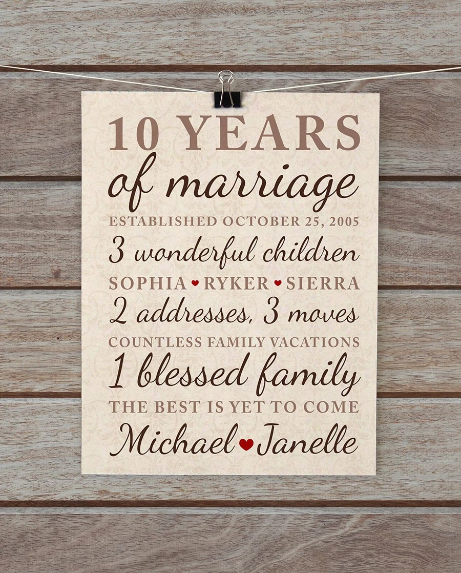 10 Anniversary Marriage Gift Year