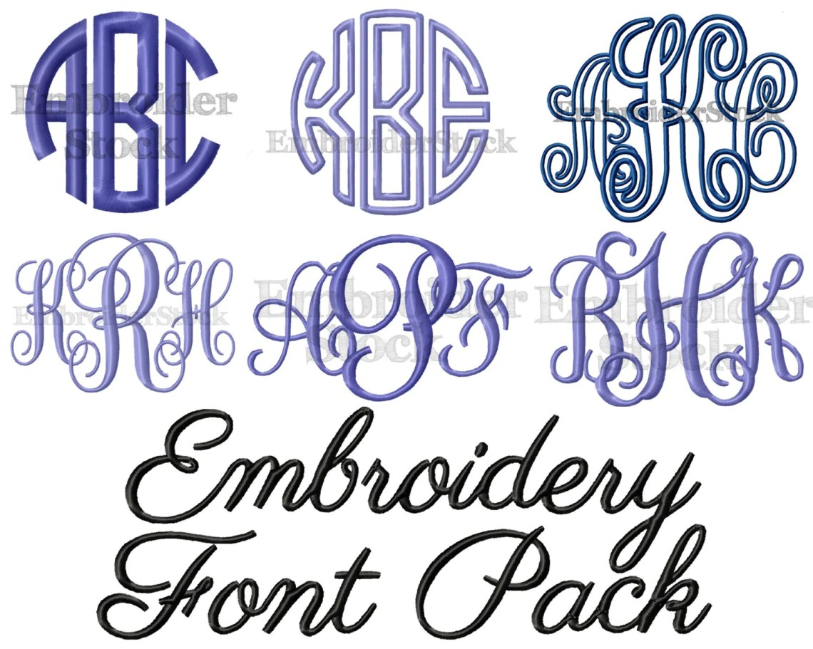 Download Embroidery Font Pack 6 Machine Embroidery Fonts in 5 Sizes