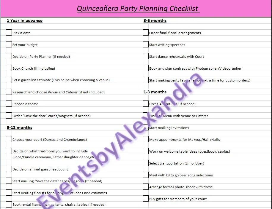 Sweet 16 Party Program Sample