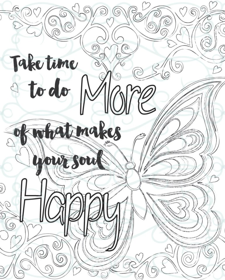 Adult Inspirational Coloring Page printable 01-Make your Soul | free printable inspirational coloring pages
