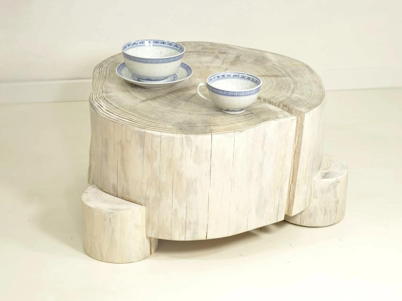 White Tree Stump Table On Wooden Legs Stump Side Table