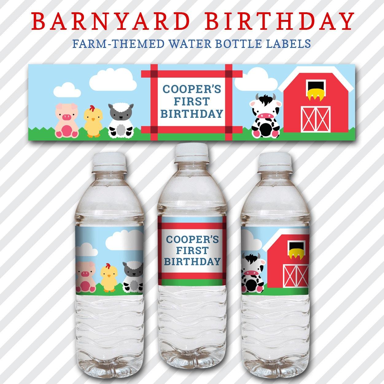 Barnyard Birthday Water Bottle Labels Kid S Birthday