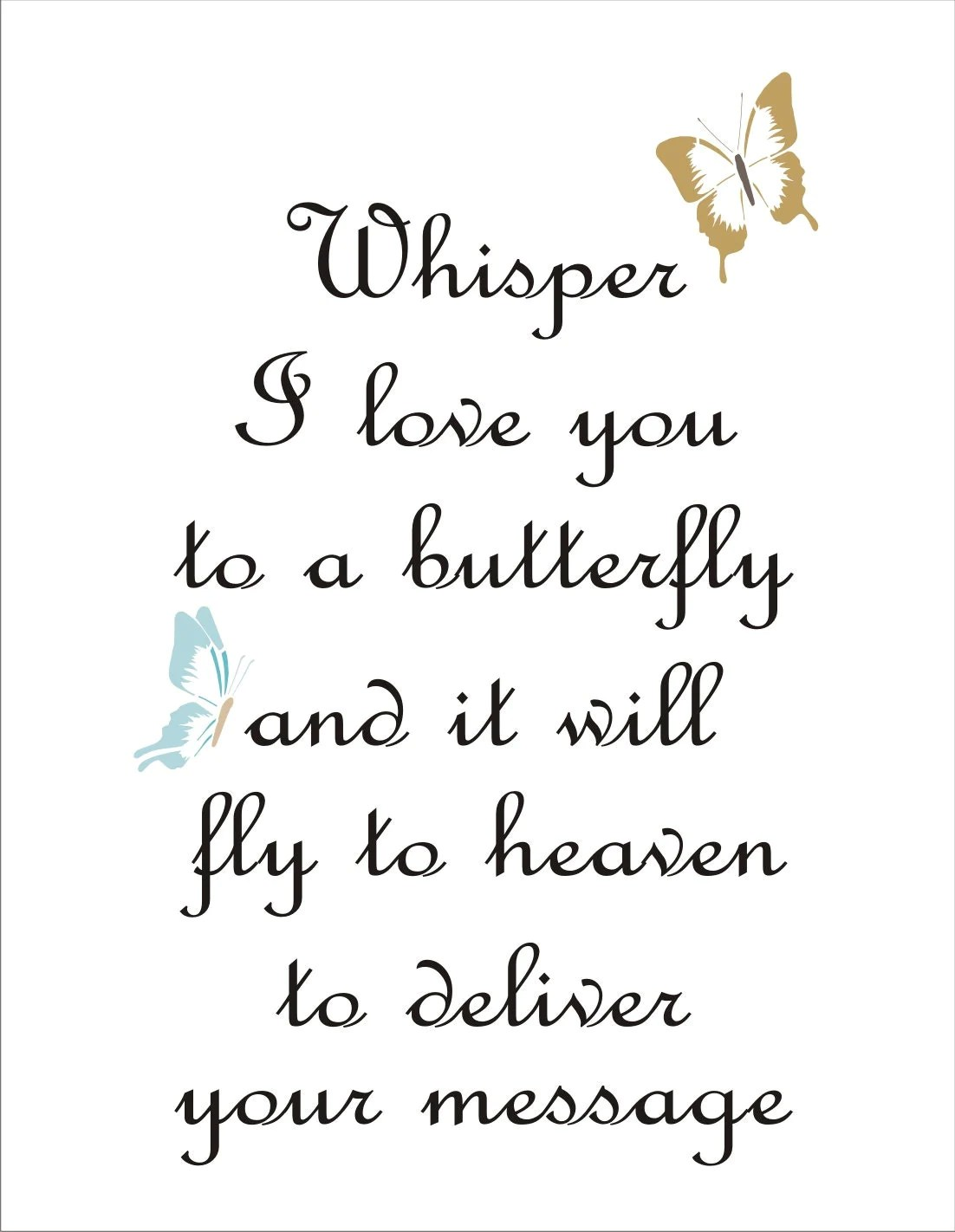 Download Whisper I love you to a Butterfly Reusable Stencil 6
