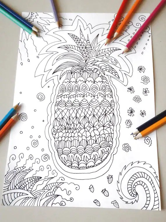 Tropical Pineapple Adult Coloring Page Instant By