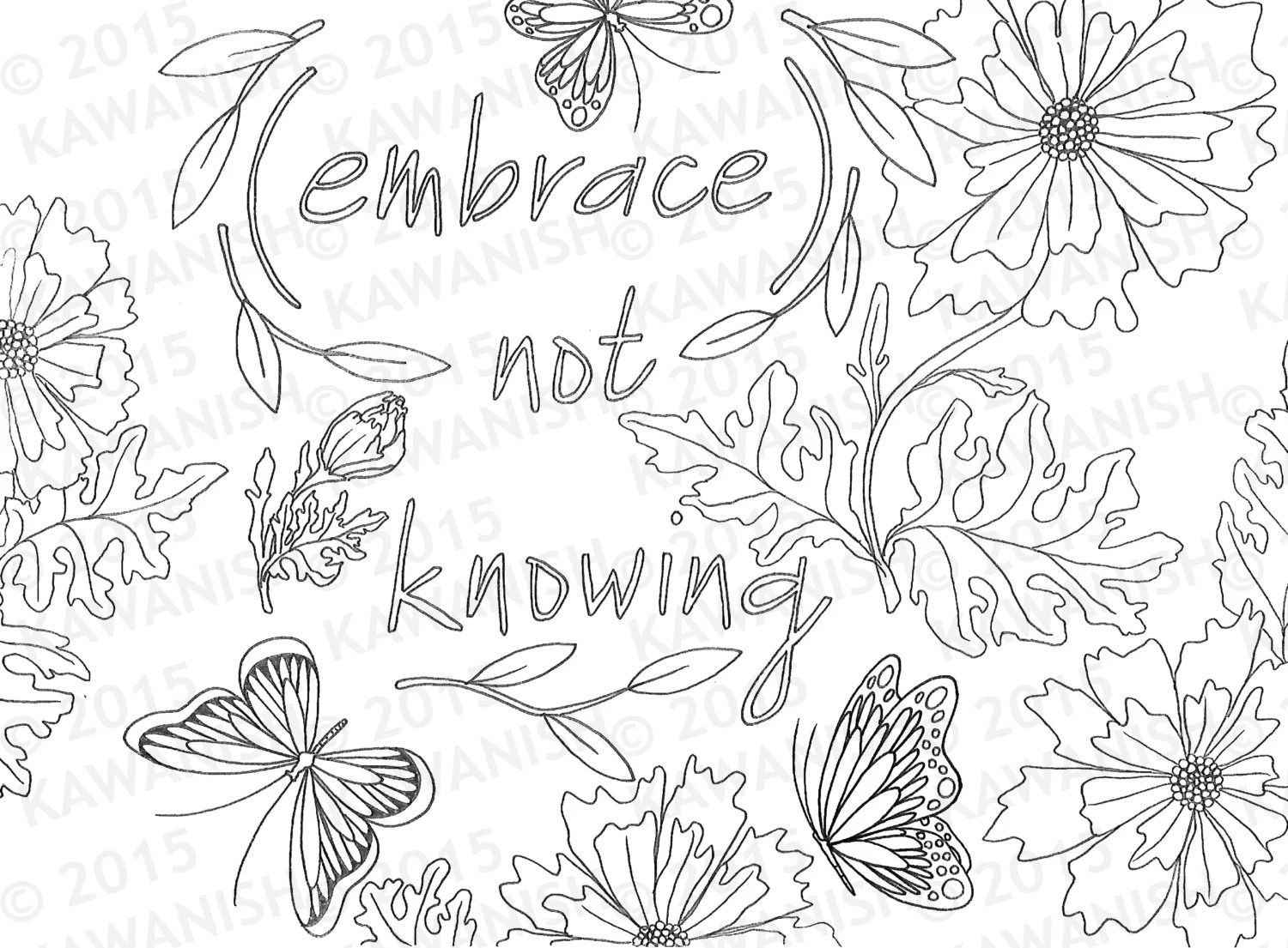 not knowing inspirational page gift wall art line drawing