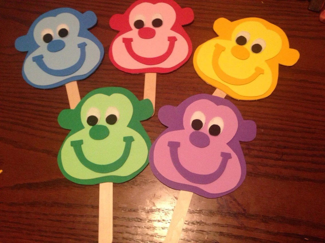 Five Little Monkeys Stick Puppets Preschool Song