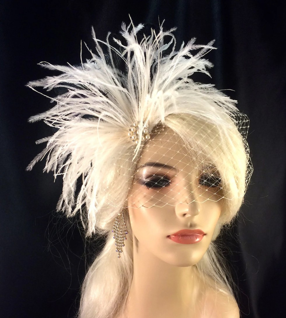 Wedding Fascinator, Wedding Feather Fascinator,  Wedding Headpiece, Wedding Hair Accessories, Wedding Veil, White, Ivory and Black, Pearls
