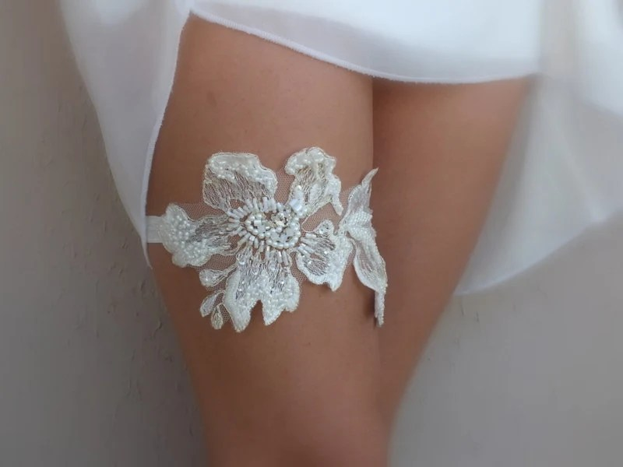Unique Cream Gold Wedding Garter Lace Garter By ByVIVIENN