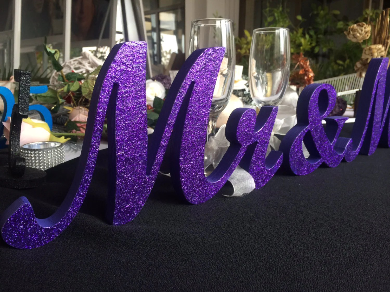 DARK Purple Glitter Mr. & Mrs. Sign Wooden Letters Wedding