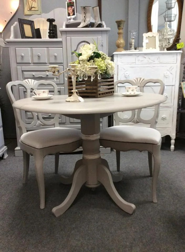 Romantic drop leaf table and two chairs w/white canvas ...