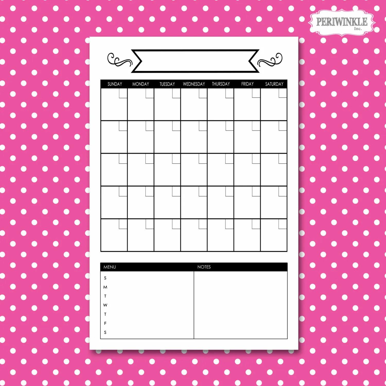 Dry Erase Calendar Printable Choose Your Size Print Perpetual