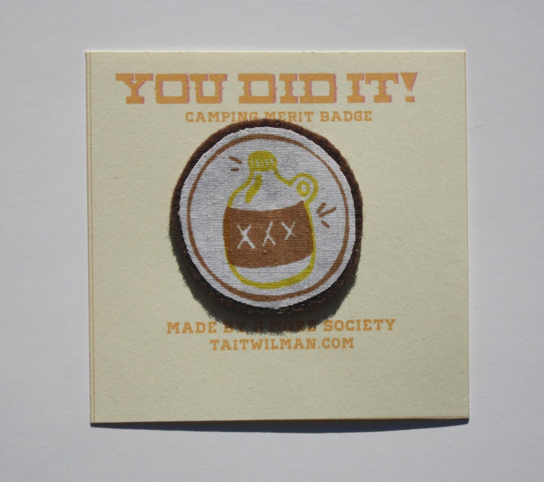 Camping Merit Badge Hand Silkscreened Sew On
