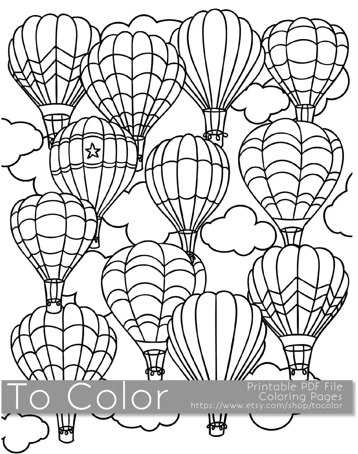 Printable Hot Air Balloon Coloring Page For Adults
