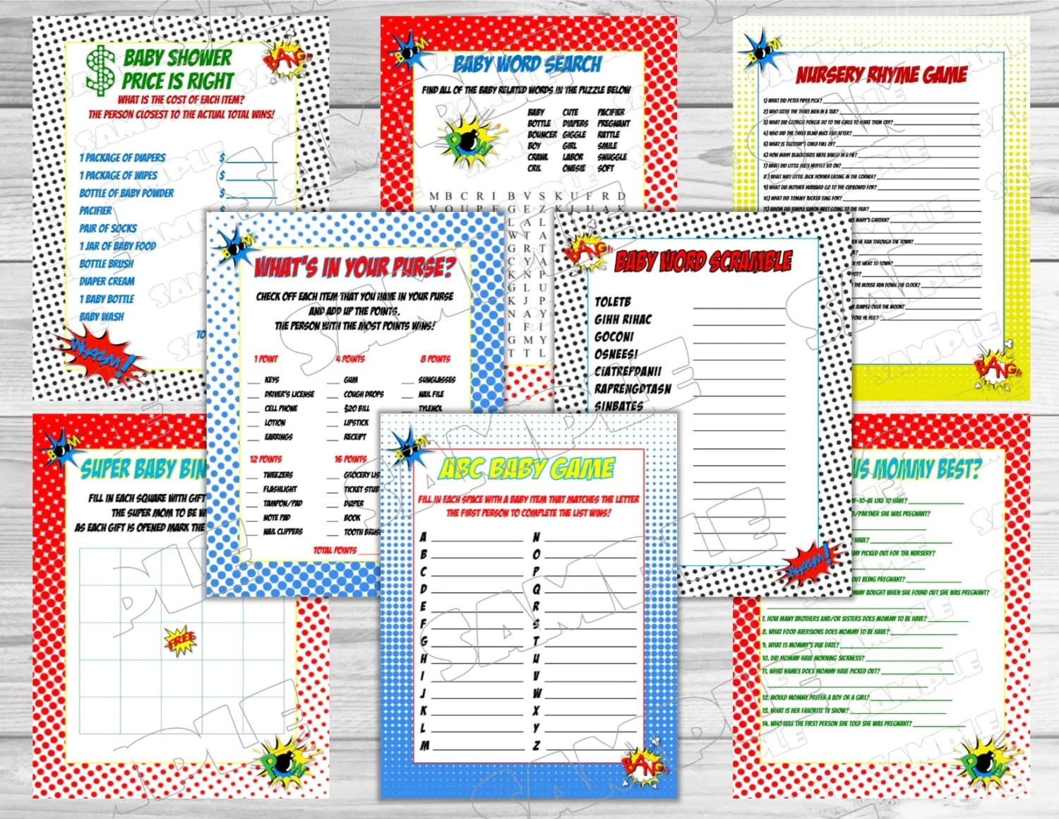 Superhero Baby Shower Games Set Of 8 Games Bundle Printable