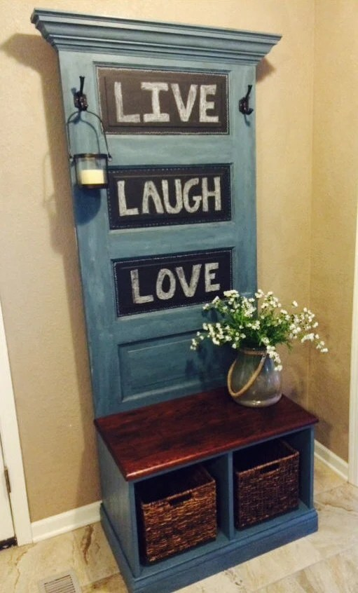 Reclaimed Vintage Door Hall Tree And Bench