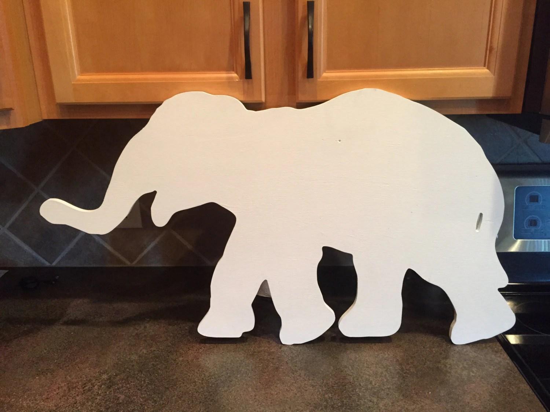 Large Elephant Cutout Wood Wall Decor Nursery Kids Room