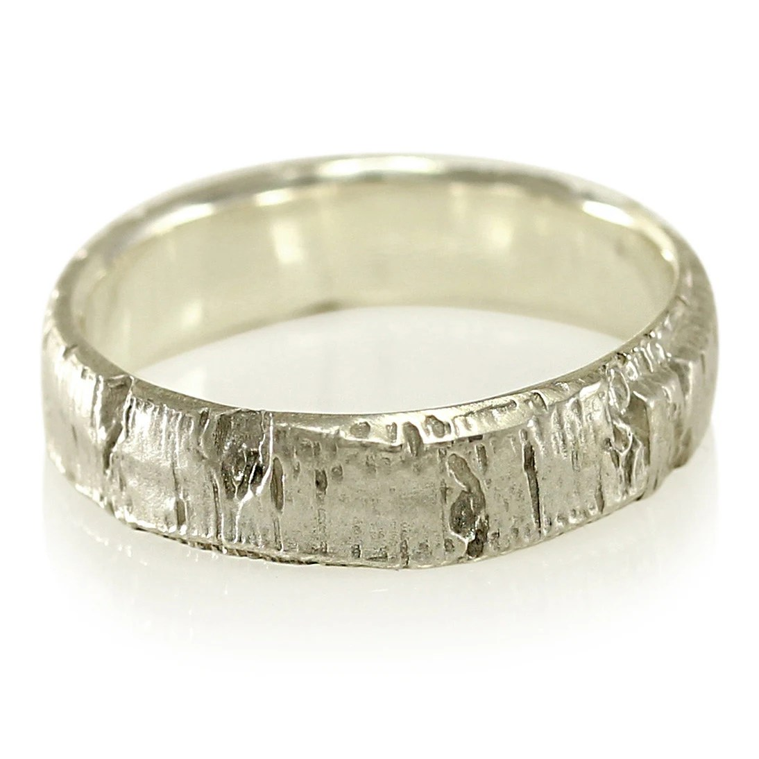 Aspen Tree Bark Wedding Band In Recycled Silver Recycled