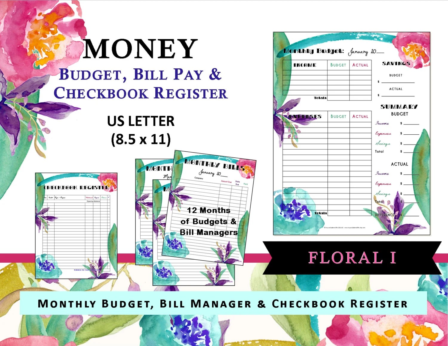 Money Budget Bill Pay Amp Checkbook Register Printable