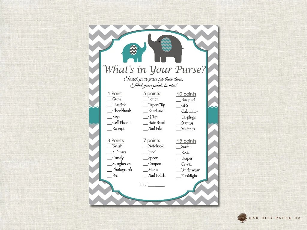 Elephant Whats In Your Purse Shower Game Whats In Your Purse
