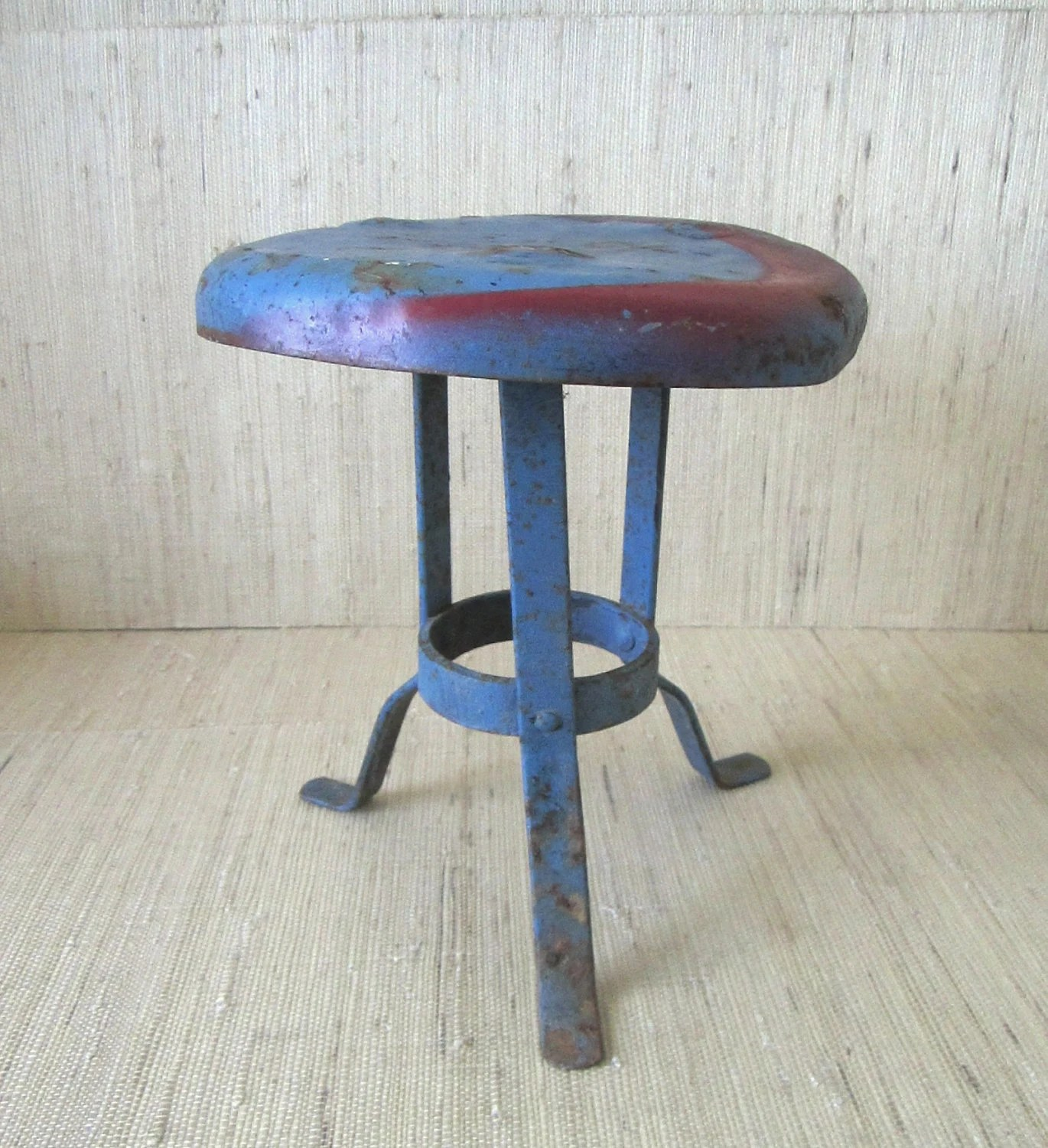 Vintage 1930s Wrought Iron Milking Stool Painted French