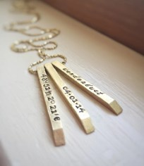 Gold Coordinates Wanderlust Personalized Date Name Custom Text Rustic Brass Long Necklace