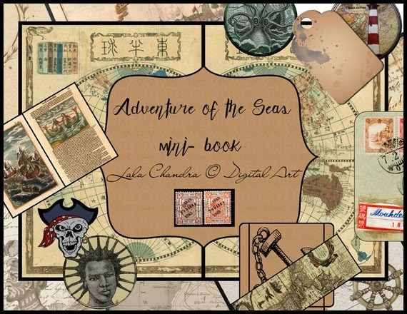 Adventure of the Seas мini- book INSTANT DOWNLOAD Scrapbooking digital journal kit old Diary paper pack