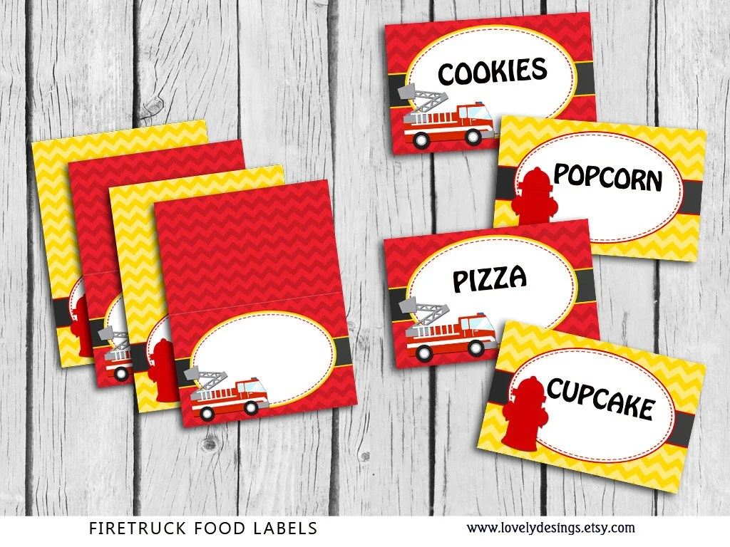 Fire Truck Food Tent Labels Blank Firefighter Party