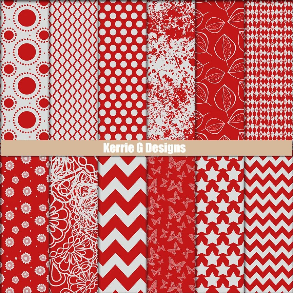 Printable Cardstock Digital Packs Scrapbooking Paper Red And