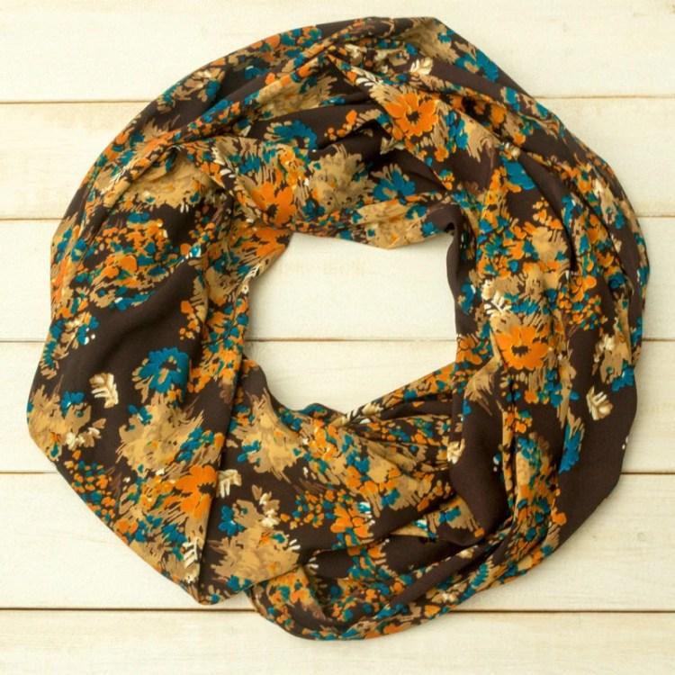 Brown Floral Scarf, Retro...