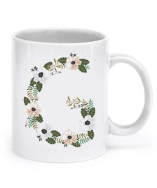 "Floral Monogram Letter ""G"" 11oz Coffee Mug, Tea Mug"