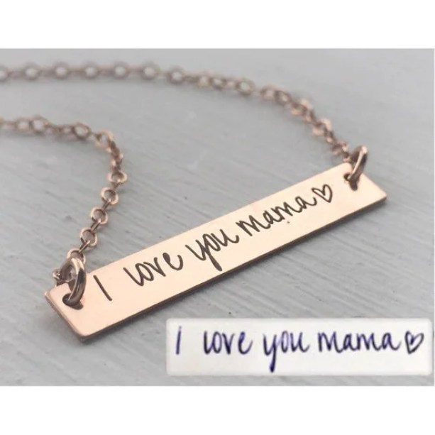 Custom Handwriting Jewelry Your Handwriting Necklace Personalized Handwritten Bar Loved Ones Mother Daughter Sister Girlfriend Wife Gift