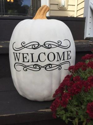 Welcome pumpkin Decal, welcome decal, pumpkin stickers, welcome fall pumpkin decor, welcome pumpkin for front porch decor, autumn porch