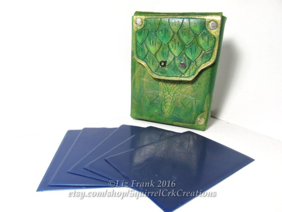 Leather Dragon Deck Box, holds 75 sleeved cards