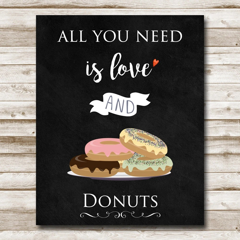 Download All You Need is Love and Donuts Printable Kitchen Wall Art