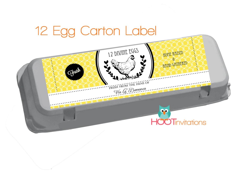 Yellow Egg Carton Labels To Print At Home One Dozen 12 Egg