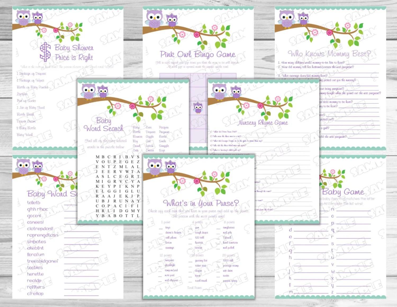 Purple Owl Baby Shower Games Set Of 8 Games Bundle Printable