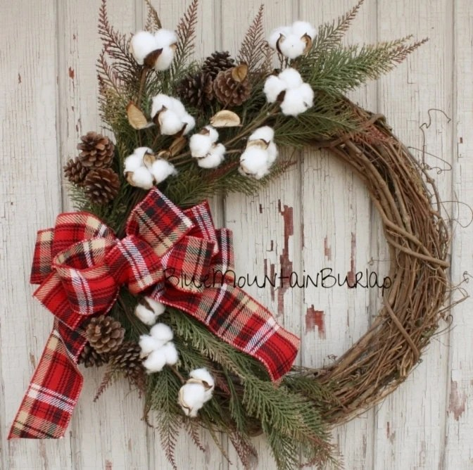 The Cotton Christmas Grapevine Wreath Christmas Wreath Front