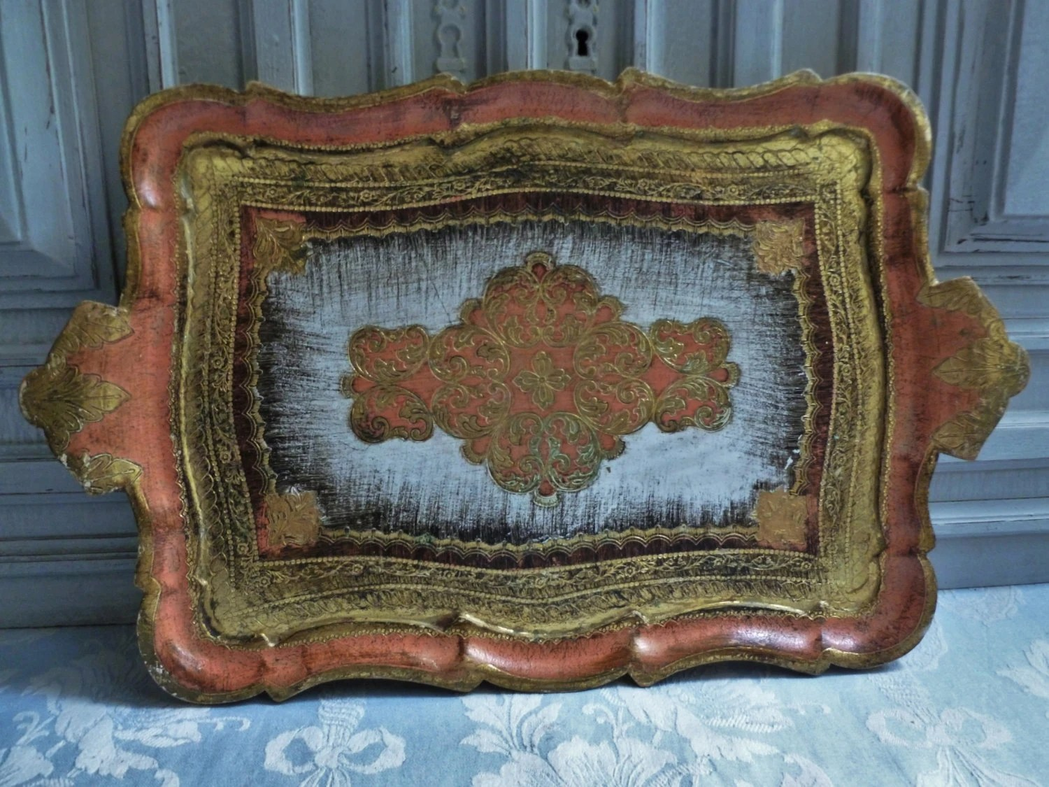 Large Florentine Tray. A Vintage Italian Painted Wooden Tray